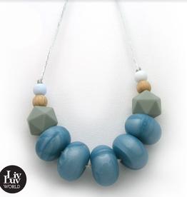 LivLuv World Livluv World - Bohemian  Blue Pearl white halsketting