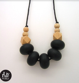 LivLuv World Livluv World - Bohemian Black &wood  halsketting