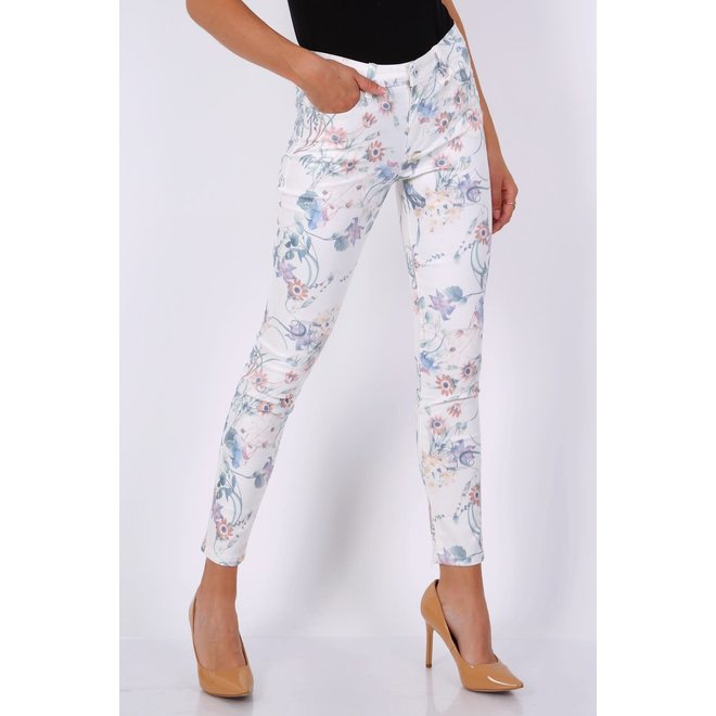 CDKN_women - stretch flower print white jeans Toxik3 C2117
