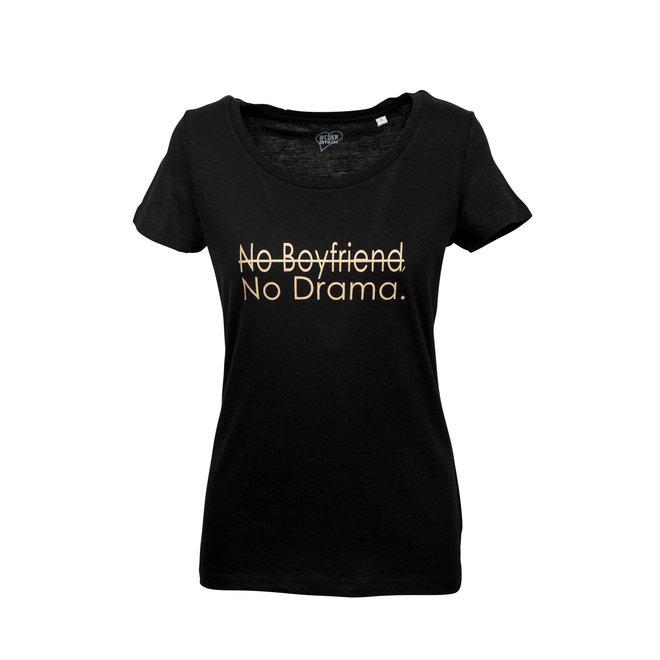 CDKN_women - modal T-shirt - black - no boyfriend no drama sparkling gold