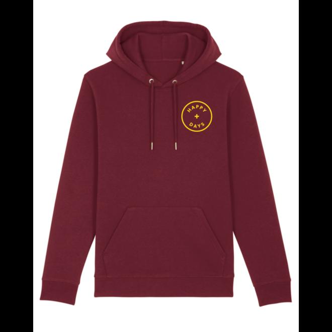 happy days - hoodie - burgundy