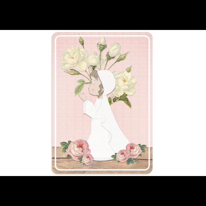 PETIT PETOU - kaart - communie roze