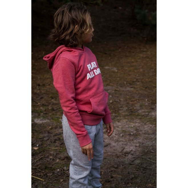CDKN_kids - play all day hoodie - heather red