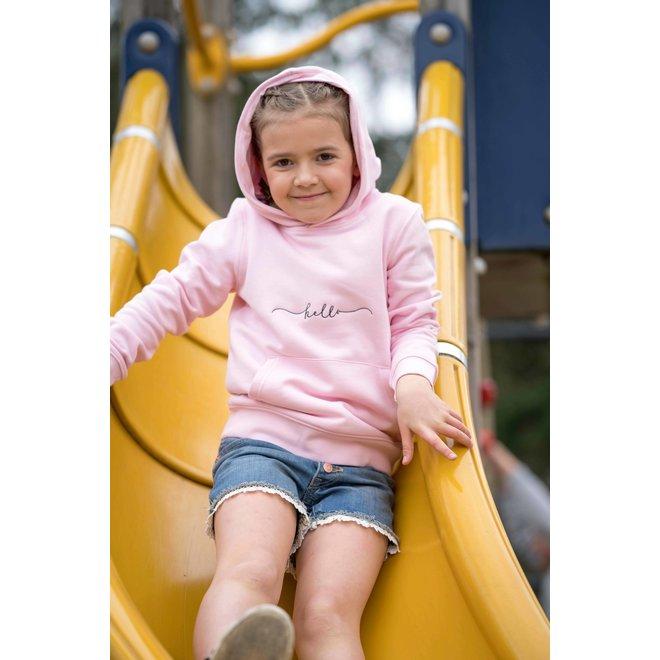 CDKN_kids - hello stitched hoodie - pink