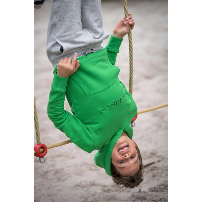 CDKN_kids - hello stitched hoodie - green