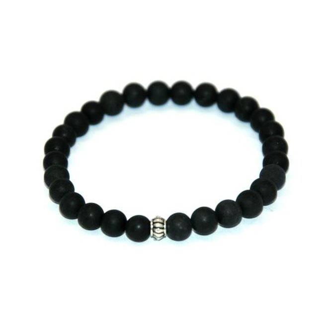 CASCADE - armband - frosted black agate - 6mm