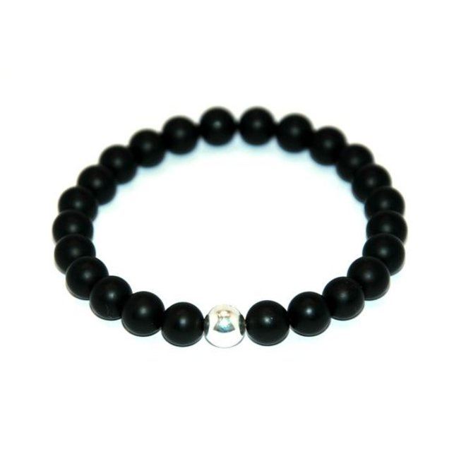 CASCADE - armband - frosted black agate - 8mm