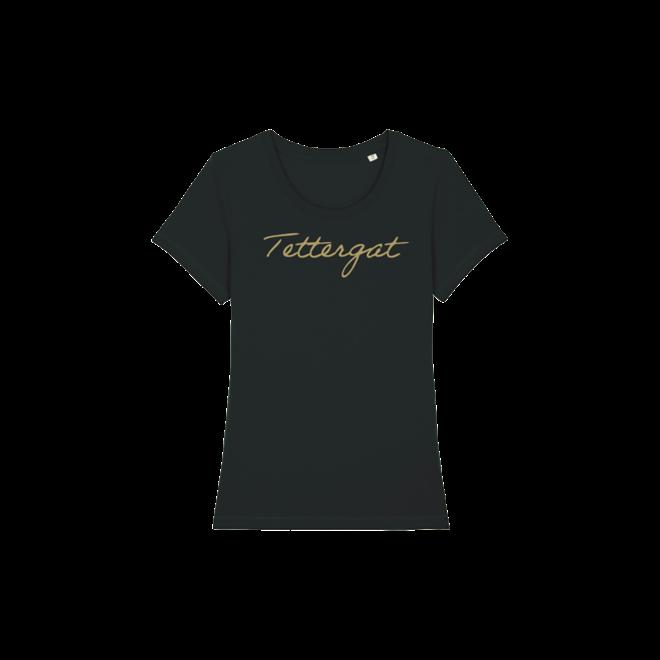 Tettergat - zwarte t-shirt met goud