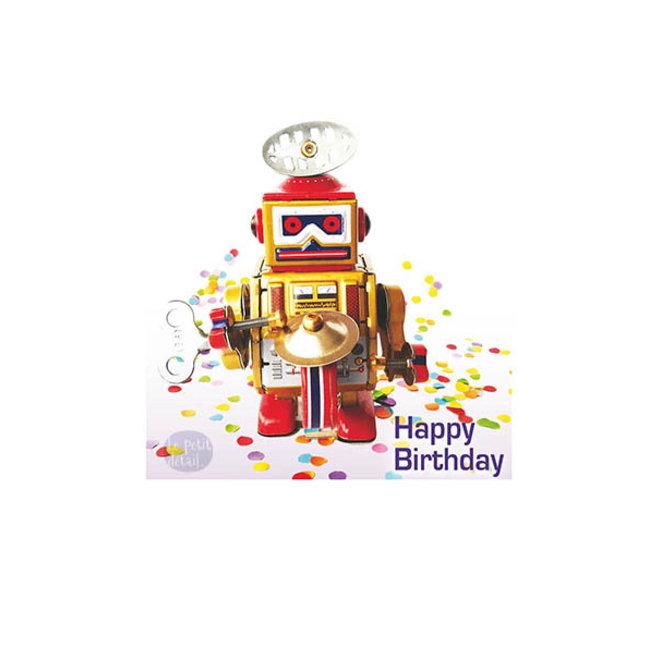 LE PETIT DÉTAIL - postkaart - happy birthday robot