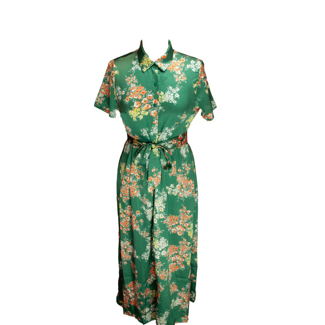 Sus & Mus - kleed groen met oranje bloemetjes