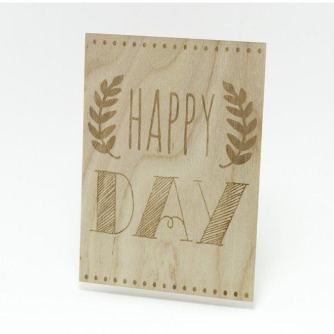 TURTLEE GREEN: Houten Kaart - Happy Day