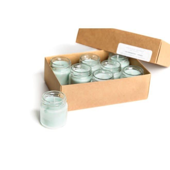 gerhilde maakt - setje van acht sojawas kaarsjes - versgewassen lakens mint