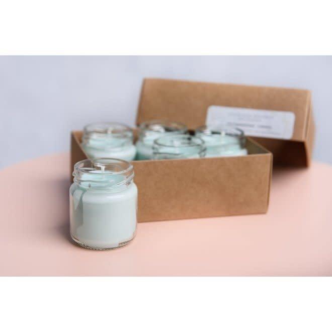 gerhilde maakt - setje van vijf sojawas kaarsjes - versgewassen lakens mint