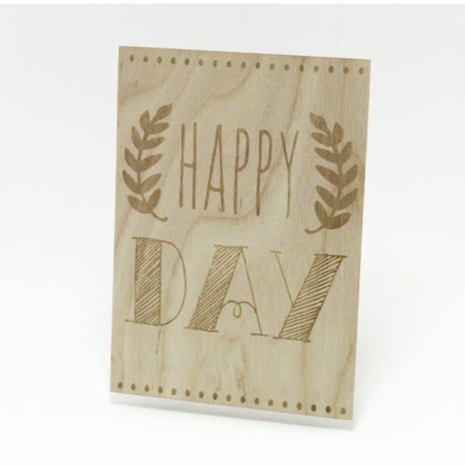 Houten Kaart - Happy Day