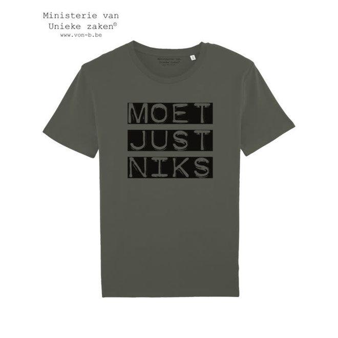 Moet Just Niks 'vet' - khaki t-shirt man
