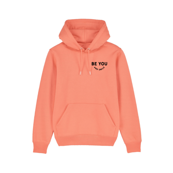 Be you & Smile - koraal hoodie, zwarte opdruk