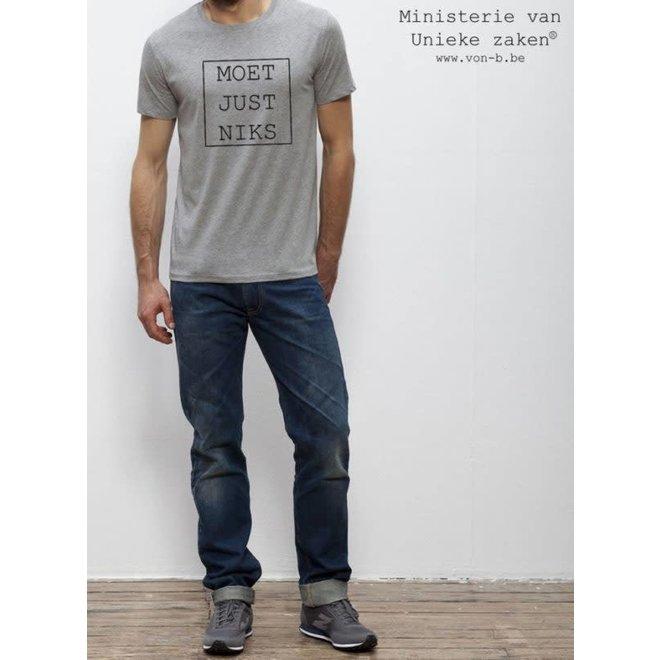 MVUZ-Moet Just Niks T-shirt Man - grijs kader
