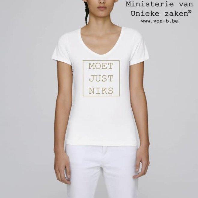T-shirt vrouw - Moet Just Niks - goud V-hals
