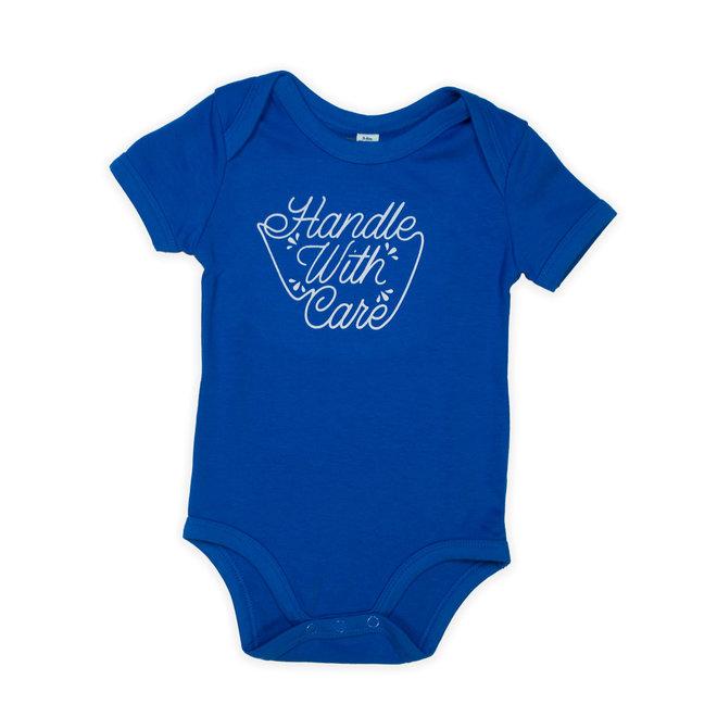 blauwe baby bodysuit short sleeves - handle with care