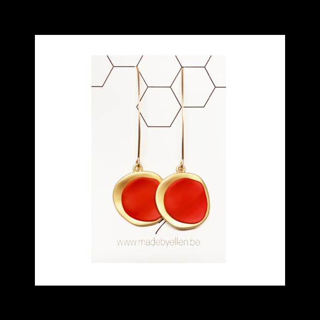 OorbEllen - hangers - mat goud rood