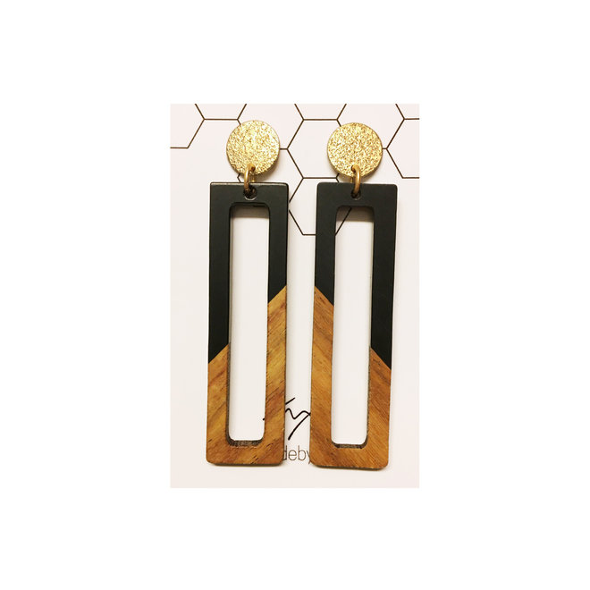OorbEllen - hars&hout rechthoek - zwart