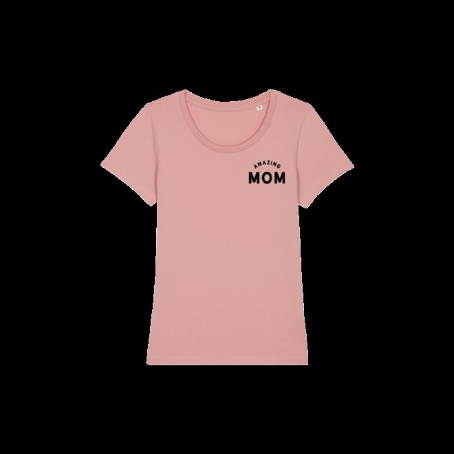 amazing mom - roze t-shirt, zwarte opdruk