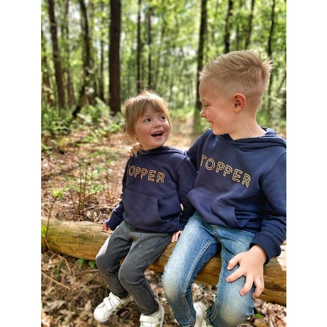 topper - hoodie 12-14 french navy geel