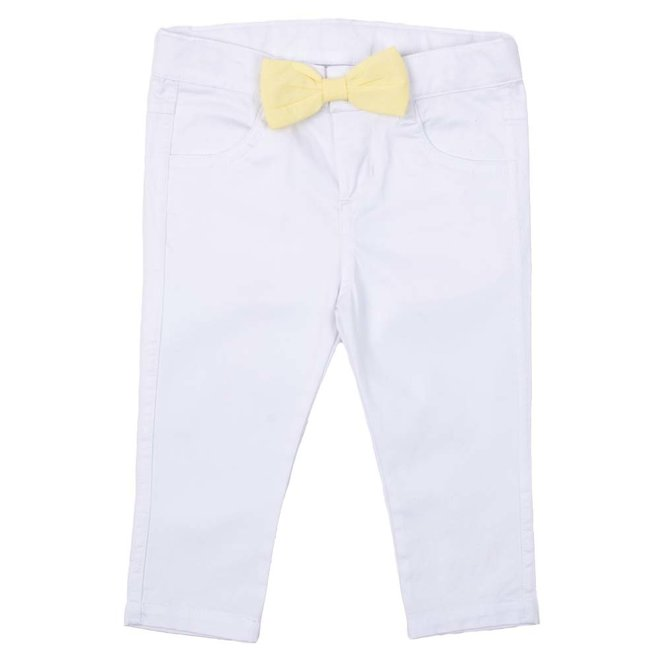 Jeany white bow yellow