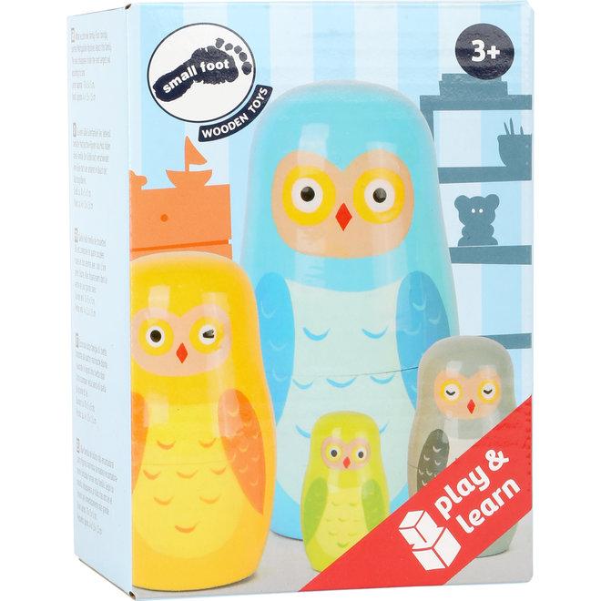 Houten speelgoed: uilen familie