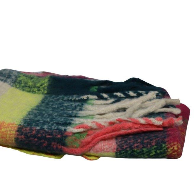 Ultrazachte Sjaal multicolor met flosjes