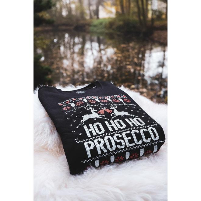 Kersttrui zwart - ho ho ho prosecco
