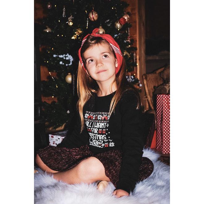 Kersttrui zwart - All I want for christmas is hugs kids