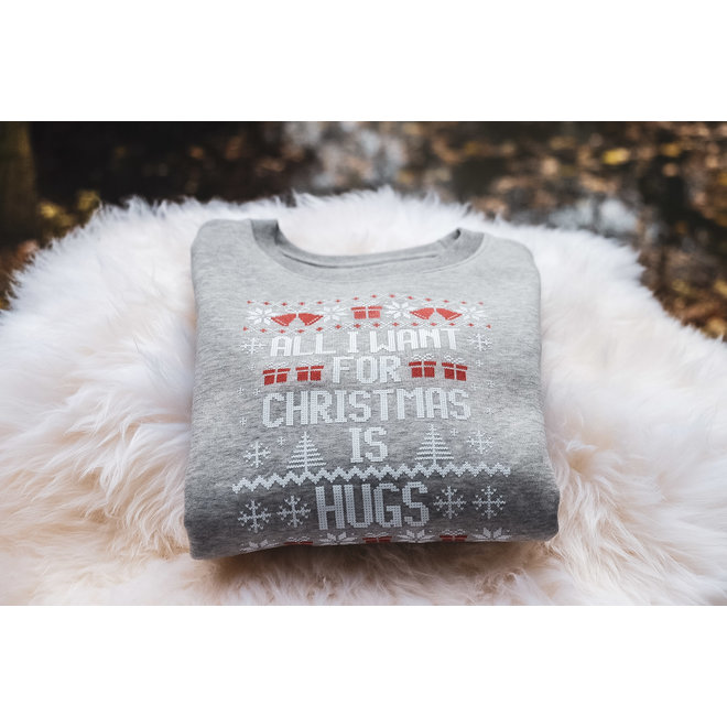 Kersttrui kids grijs - All I want for christmas is hugs