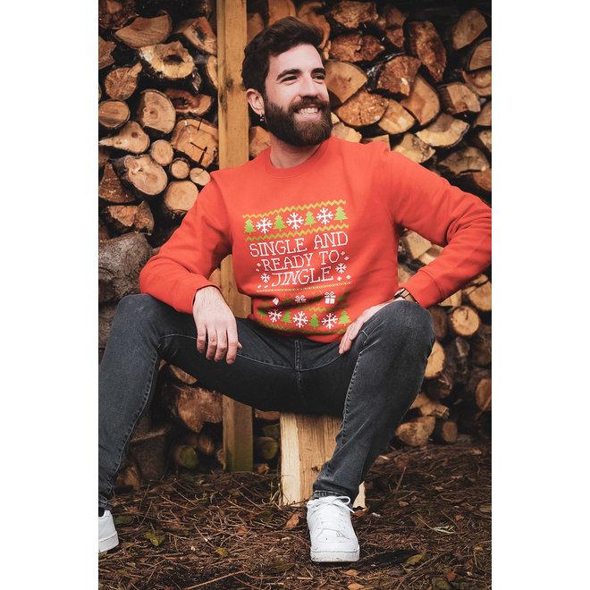Kersttrui rood - single ready to jingle