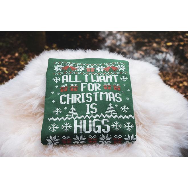 Kersttrui zwart - christmas hugs volwassenen