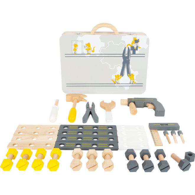 Houten koffer gereedschapsmateriaal