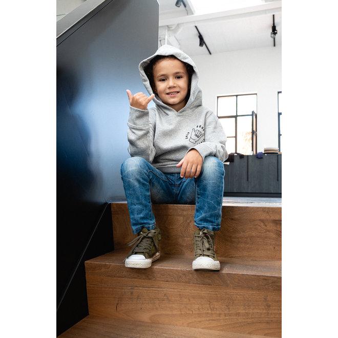 Only good vibes  - Grijze kids hoodie, zwarte opdruk