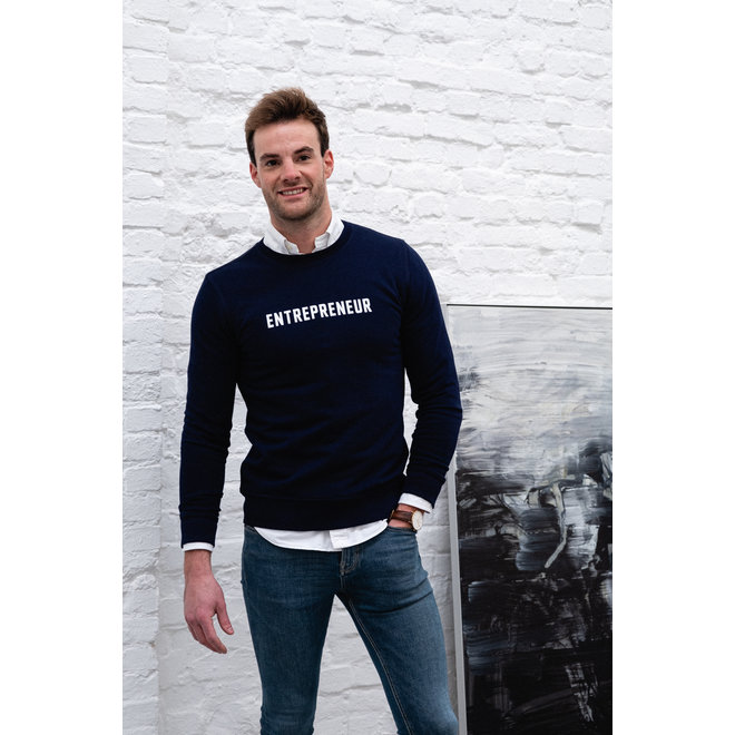 Entrepreneur  - Blauwe sweater, witte opdruk