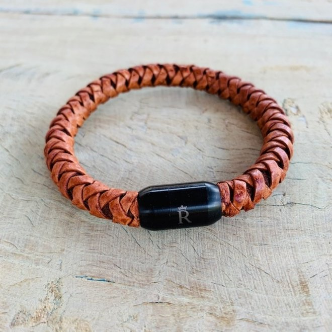 Leder armband Auburn Brown