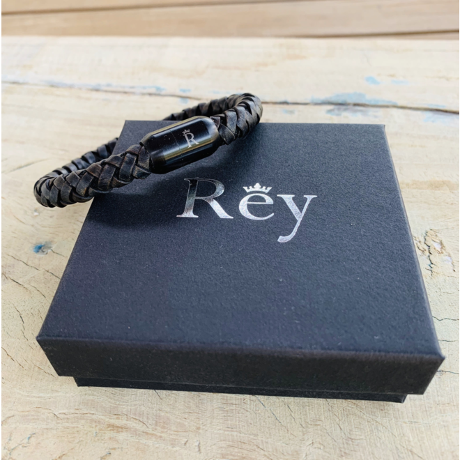 Leder armband Vintage Black