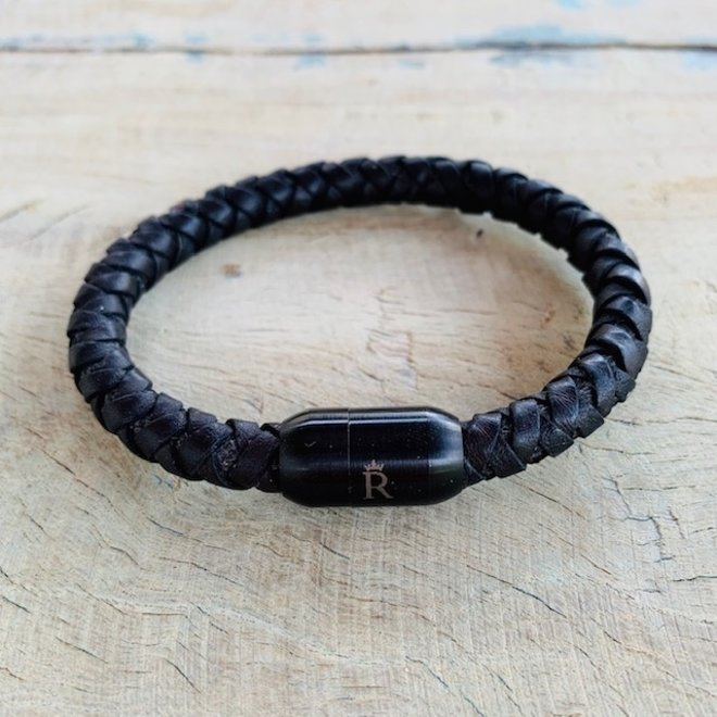 Leder armband Black