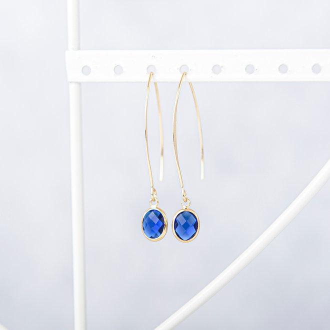 gerhilde maakt - oorbellen goudkleurig met geslepen glas blauw