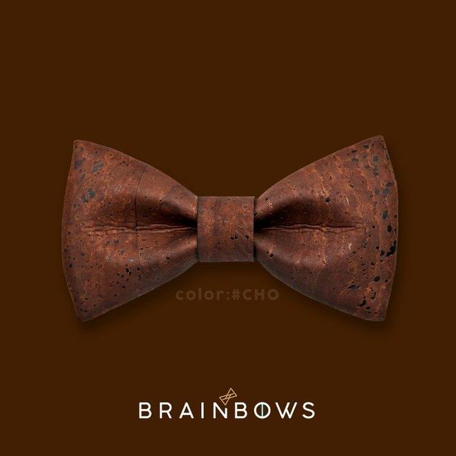 Hipbow strik uit kurkleer chocolate