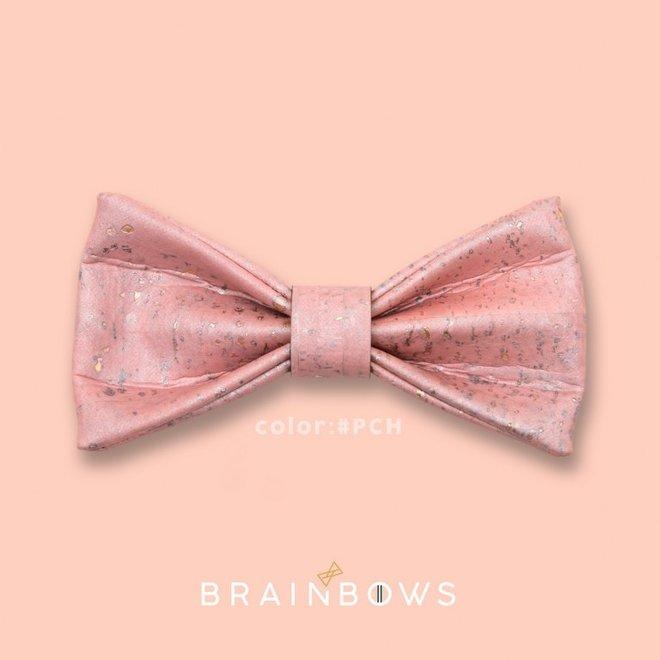 Hipbow strik uit kurkleer pink champagne
