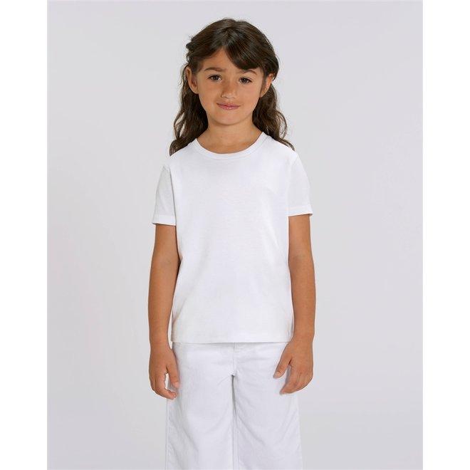 Basic witte kinder t shirt uit 100% biologisch katoen
