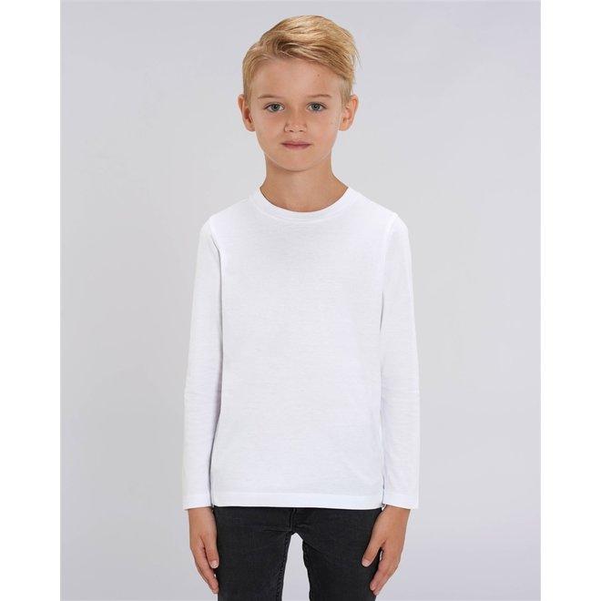 Basic witte kinder t shirt met lange mouwen - 100% biologisch katoen