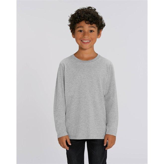 Basic grijze kinder t shirt met lange mouwen - 100% biologisch katoen