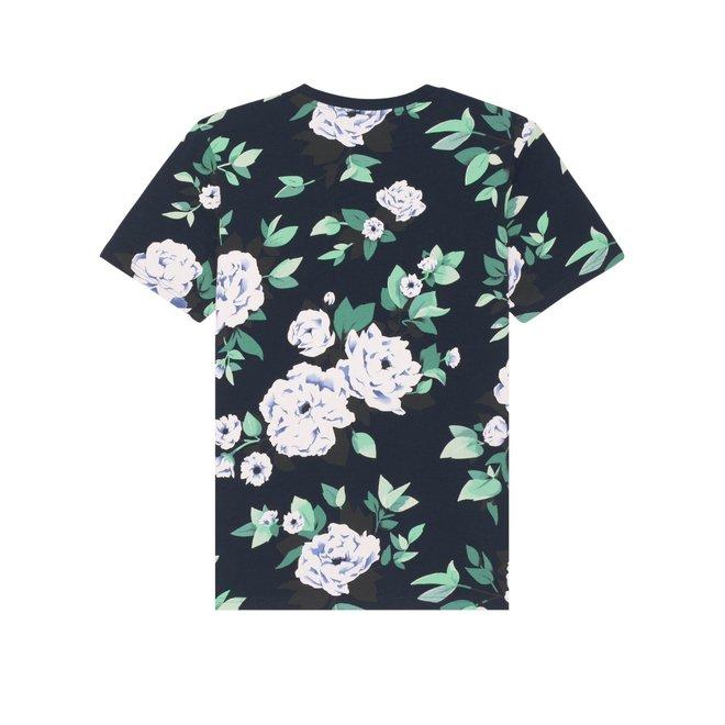Marine blauwe bloemen t shirt