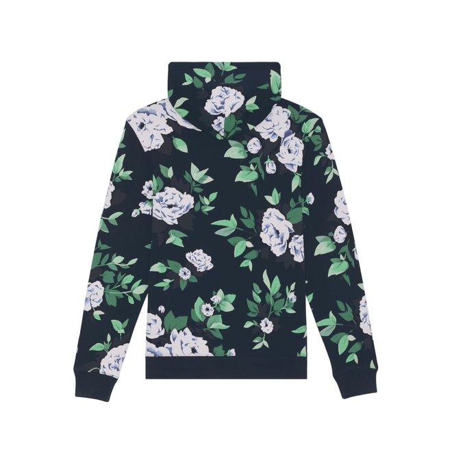 Marine blauwe bloemen hoodie
