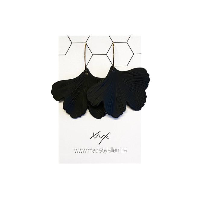 OorbEllen - acryl ginkgo - zwart